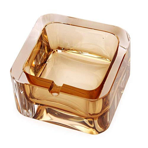 XZJJZ Ashtray-Crystal Ashtray,Clear and Heavy Suitable for Living Home or Hotel and Office, Suitable for 1 Person,In Favour of Smoking Controalling (Color : Clear)
