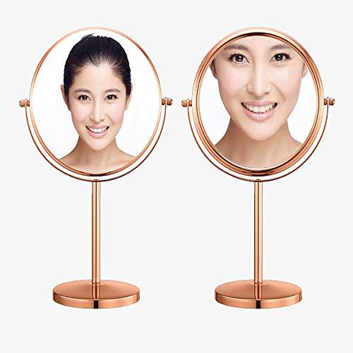 Sunny Rétro Miroir de Salle de Bains Miroir de Table Rose Or Maquillage Artiste Maquillage Miroir HD Double Face Miroir Rond Cadeau Fille Maquillage Miroir Ordinaire 5 Fois grossissement