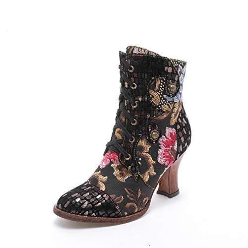 CrazycatZ Damen Stiefeletten mit Absatz Leder Chelsea Kurze Stiefel Handgefertigte Bunte Patchwork Gestickte Blumen Stiefeletten (X22, 38)
