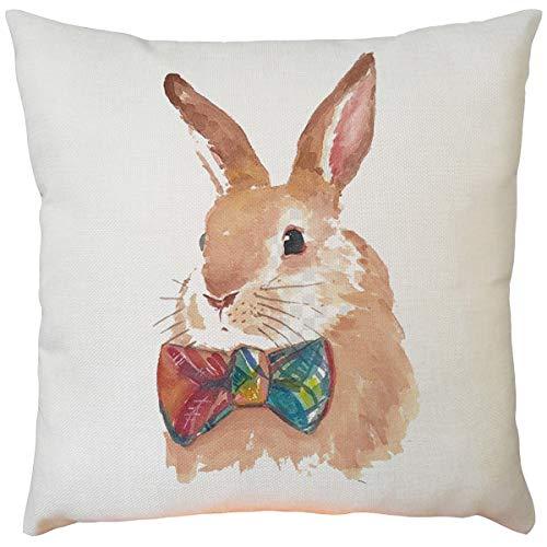 Skxinn Ostern Kissenbezug Vintage Kissenhüllen Osterhase Kissen Kaninchen Tier-Motiv Wurfkissen Kaninchen Hasen,Frühling Baumwolle Leinen Schlafsofa Werfen Kissenbezug Dekoration 45x45cm