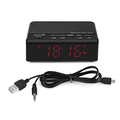 Yunir Mini portátil inalámbrico Multifuncional Bluetooth Alram Reloj y Altavoz y Radio FM Dormitorio Sonido estéreo Reproductor de música de Alta fidelidad con micrófono con cancelación de Rui