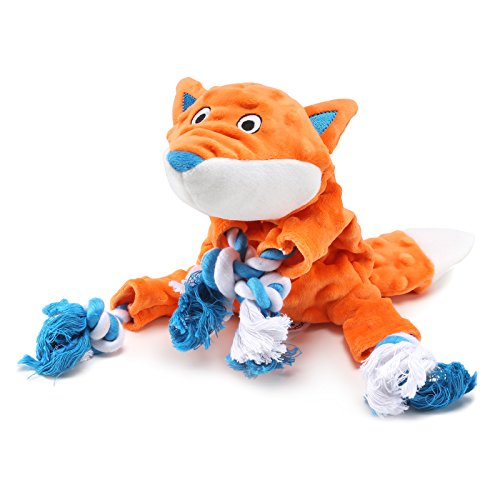 Plush Dog Toy, Fox Pattern Stuffingless Dog Rope Toy with 2 Squeakers for Small Medium Dog Pets