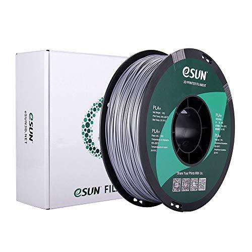 eSUN PLA+ Filament 1.75mm, PLA Plus 3D Printer Filament, Dimensional Accuracy +/- 0.03mm, 1KG (2.2 LBS) Spool 3D Printing Filament for 3D Printers, Silver