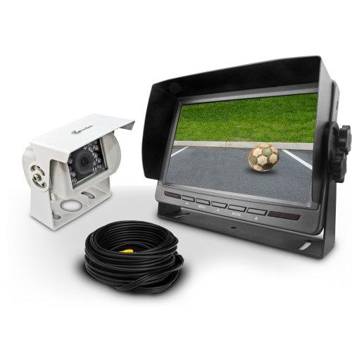 """Carmedien cm-RFSN2 Rückfahrsystem mit weißer Rückfahrkamera 7"""" Monitor Rückfahrvideosystem Transporter Wohnmobil LKW"""