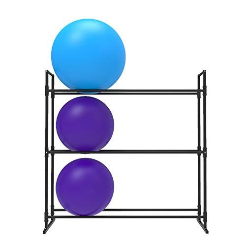 Almacenamiento de Rodillo Espuma/Esterilla Yoga Estante De Almacenamiento De Bolas De Ejercicio Resistente, Oficina En Casa Gimnasio Soporte para Tapetes De Yoga para Piso, Negro Estante De Metal Par