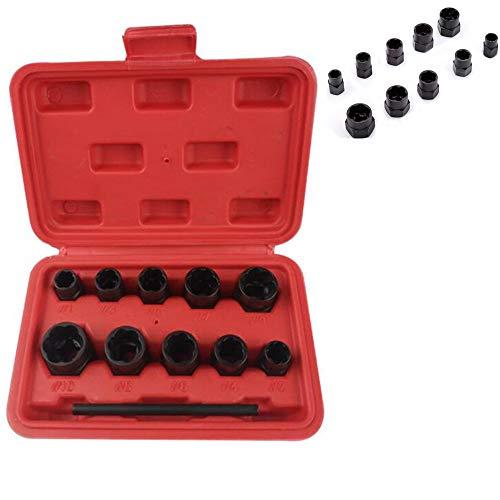 Attrezzo estrattore per viti di fermo a bussola 11pcs per la rimozione di dadi ruota bloccati o bulloni danneggiati