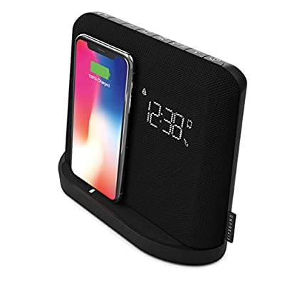 KitSound XDock Qi Charger Wireless Bluetooth Speaker Charging Dock with FM Radio for iPhone 8/X/XS/XR/XS Max/11/11 Pro/11 Pro Max, Samsung S6/S7/S8/S9/S10/S10+/S10e - Black by Kitsound