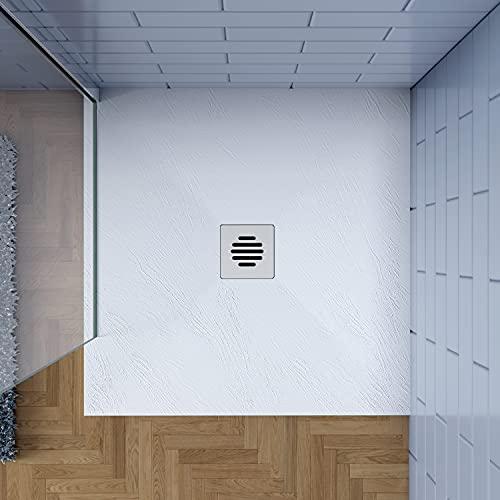 80x80cm Plato de ducha AICA blanco textura pizarra+Accesorios de desagüe