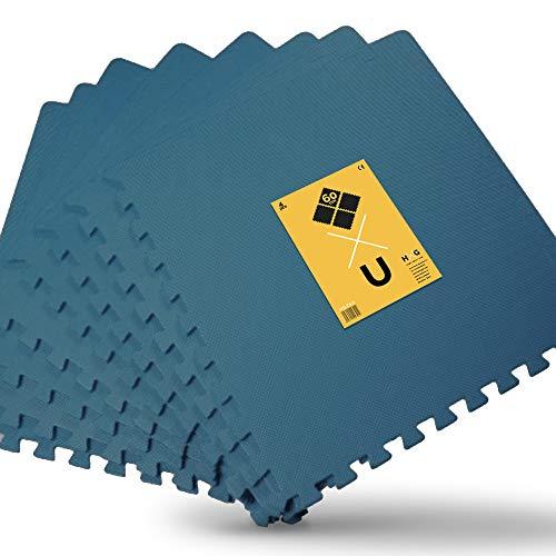 JOWY Esterilla de Espuma Fitness Suave. Tatami Puzzle Negro 60x60cm. Máxima protección para tu Suelo. Fácil Limpieza y con Bordes incluidos. (Azul, 8 pcs (2.88m2))