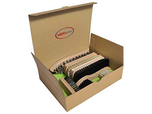 kaufMAX MERXartis Schuhputzset Blitze-Blank mit Schmutzbürste, Glanzbürste, Poliertuch und Wildlederbürste für vielseitige Schuhpflege