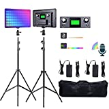 RGB LED Video Light, SAMTIAN Sound Controlled Photography Lighting 18 Lighting Scenes 2800K-9900K Dimmable with LCD Display Screen, Super Slim Video Lighting Kit for Video Recording, YouTube, TikTok