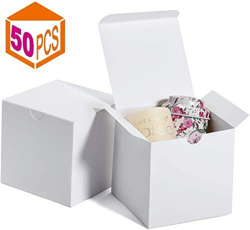 Switory Cajas de regalo 50Pc 10x10x10cm, cajas de regalo de papel Kraft con tapas para hacer manualidades, cajas de cartón para propuestas de dama de honor, regalos de boda blancos