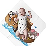 Wozukia Noah's Ark Soft Baby Swaddling Blankets Noah's Ark with Animals On Water Wave Isolated On White Background Lightweight Blankets to wrap Newborn Babies for Better Sleep 35.4×35.4 inches