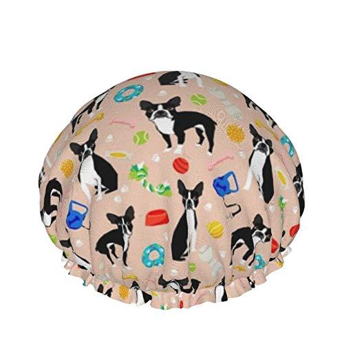 Gorro de ducha de doble capa impermeable para mujer Gorro de baño turbante Sauna(Boston Terrier Toys Dog Toy Cute Dogs Dog)