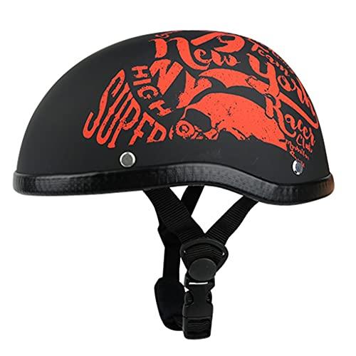 NS Casco Motocicleta Abierto Medio Protección Dot Gorro Calavera Casco Cara Abierta Shell Estilo Personalidad Medio Casco para Hombres Mujeres Bicicleta Scooter (Color : D, Size : M55-57CM)