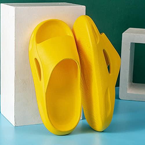 Piscina Slide Zapatilla BañO Zapatillas deslizantes de almohada para mujer zapatillas suaves de punta abierta para ducha de baño interior zapatos de para jardín de playa para hombre amarillo EU37-38