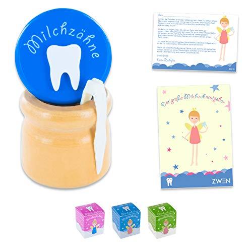 ZWEN MILCHZAHNDOSE Holz Schraubverschluss, Pinzette und Zahnfee-Brief + E-BOOK I Milchzahnbox für Mädchen und Jungen (Blau)
