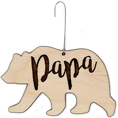 Papa Bear Christmas Ornament | Cute Gifts for Dad Wooden Holiday Decoration