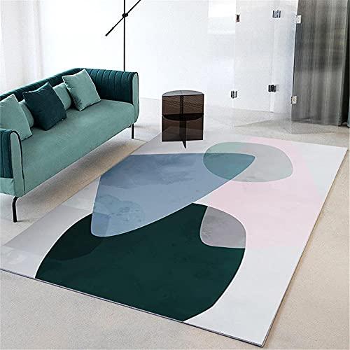 Bases Antideslizantes para alfombras Alfombra Azul, patrón Triangular Resistente al Desgaste Antibacteriano a la Alfombra Transpirable fácil de Limpiar alfombras pie de Cama -Azul_120x160cm