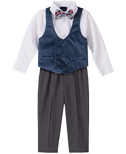 Nautica Baby Boys 4-Piece Set with Dress Shirts, Vests, Pants, and Bow Ties, Navy Velvet, 3/6 Months