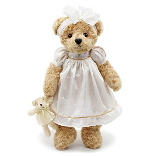 Oitscute Teddy Bears Baby Cute Soft Plush Stuffed Animal Toy for Girl Women 16' (Brown Bear Wearing White Sleepwear)