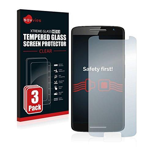 Savvies Panzerglas kompatibel mit Motorola Moto X Play (3 Stück) - Echt-Glas, 9H Festigkeit, Anti-Fingerprint