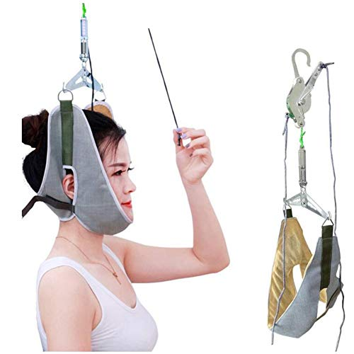 GCT Neck Stretcher Cervical Streckverband Für Hals Schmerzlinderung, Türrahmen Kopf-Hals-Traction-Keilrahmen,Grau