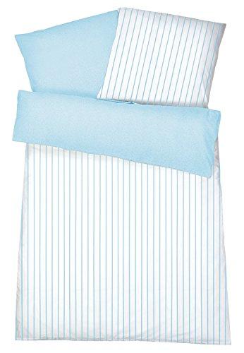 Carpe Sonno Elegantes Interlock Jersey Bettwäsche-Set Streifen Hellblau 155 x 220 cm...