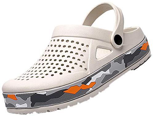 [Unitysow] サンダル メンズ スリッパ 水陸両用 メッシュ ビーチサンダル オフィスサンダル 超軽量 ベランダ 室内履き ルームシューズ サボサンダル 速乾 滑り止め スポーツサンダル、ホワイト、25.5 cm
