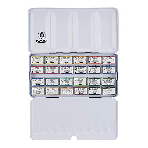 Schmincke Horadam Aquarell Full-Pan Paint Metal Set, Set of 24 Colors (74324097)