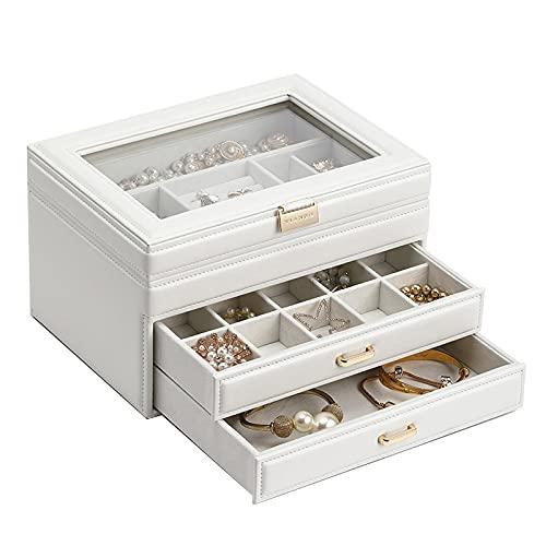 Caja de almacenamiento de joyas Cajas de organizador de joyas de viaje Caja de almacenamiento de joyas de cuero Multi-lattice Organizador portátil Holder para gemelos, anillos, colgantes, cadena Cajas