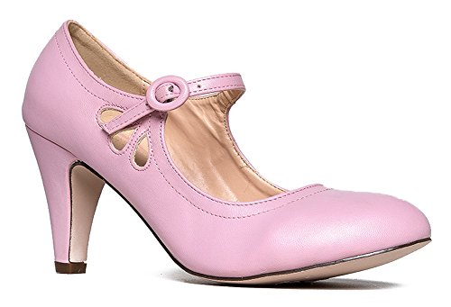 Mary Jane Pumps - Low Kitten Heels – Vintage Retro Round Toe Shoe with Ankle Strap - Pixie by J. Adams