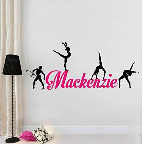 Wandtattoo Schlafzimmer Gymnast Gymnastics Custom Personalized Name Sticker Raum für Sportraum für Fitnessraum für Tanzraum