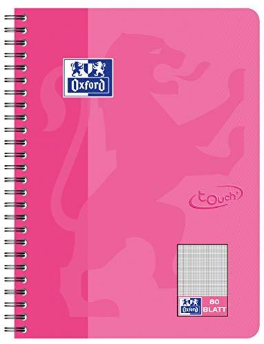 OXFORD 400086487 Collegeblock Touch im Format B5 80 Blatt kariert mit Rand rosa Schreibblock Notizblock Briefblock Schulblock