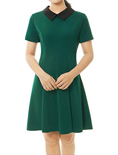 Allegra K Vestido para Mujeres Collar De Peter Pan De Contraste Mangas Cortas por Encima De La Rodilla Verde L