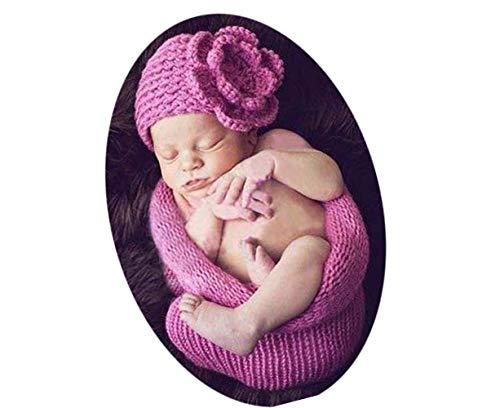 Himom Swaddle tricoté avec chapeau, Ensemble complet de pros de la photographie,Sac de couchage pour bébé nouveau-né Cadeau