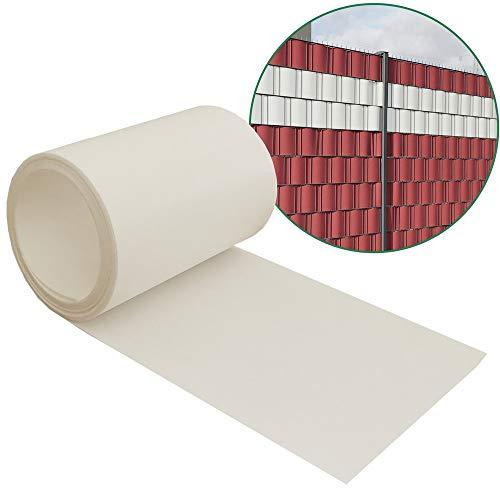 Minirolle Sichtschutzstreifen PP für Doppelstabmatten - Designelement - lichtdurchlässig - Hemmdal - Zaun Sichtschutz 2x 2,53m - Doppelstabmattenzaun hart