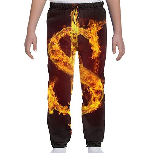 TYUO Jogginghose für Jugendliche, legere Hose mit Feuer und Flammen, cooles Dollar Gr. 27-32, Schwarz