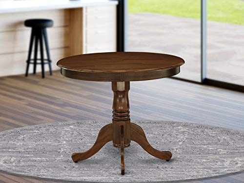 East West Furniture ANT-AWA-TP Antique Dining Table Made of Rubber Wood, 36 Inch Round, Walnut Finish