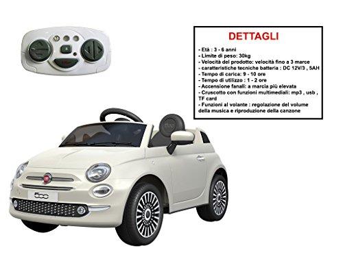 Mazzeo Giocattoli auto elettrica per bambini fiat 500 bianca