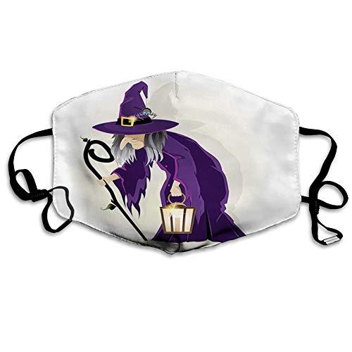 Bequeme Winddichte Maske, Hexe, beängstigende Frau mit Einer Laterne und Einer Spinne auf ihrem Hut-Baum-Rohr-Zauberin-Magier, Lila Schwarz-Grau