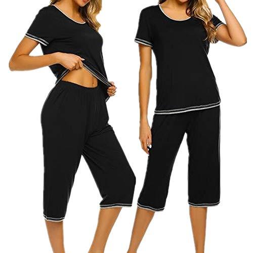 UNibelle Damen Zweiteiliger Schlafanzug Einfarbig Weich Lounge Pyjama Set Nachtwäsche Hausanzug Kurzarm Shirt Lang Hose Sleepwear Loungewear mit Rundhals