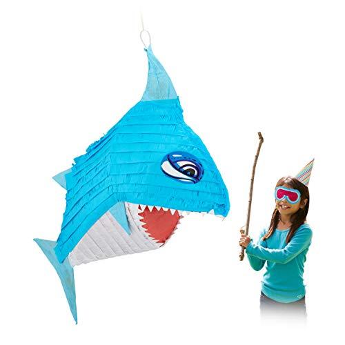 Relaxdays Hai Pinata, zum Aufhängen, Kinder, Mädchen & Jungen, Geburtstag, zum Befüllen, HBT 68 x 53 x 18 cm, blau/weiß