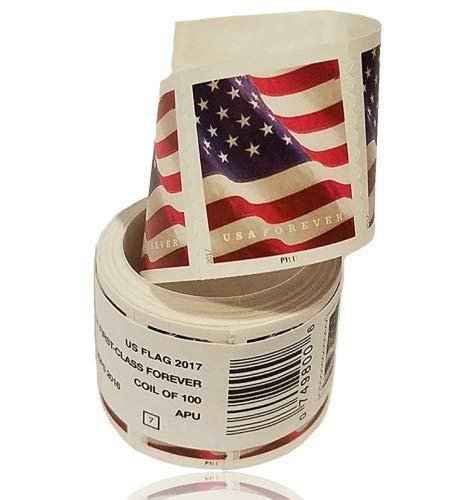US Flag Stamps 100 Roll, Coil of 100 Stamps