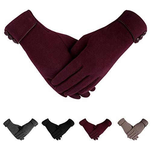 ECOMBOS Touchscreen Handschuhe Frauen - Winter Warme Handschuhe Dickes Fleecefutter Elegante Handschuhe Weihnachts Geschenke Für Frauen Mädchen,Einheitsgröße,Rot
