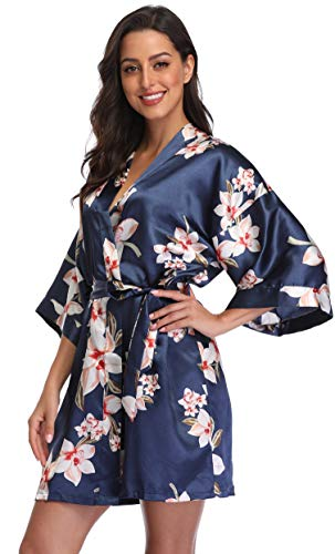 season dressing Women Floral Robes Bridesmaids Short Satin...