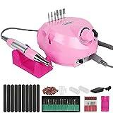 Forever Speed Torno de uñas eléctrico, lima de uñas eléctrica, juego de 30000 u/min, set de pedicura, lima de uñas eléctrica, manicura, herramientas pulidoras (rosa)