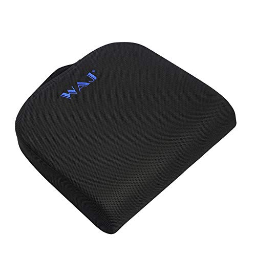 WAJ Large Seat Cushion for Office Chair with Carry Handle, Memory Foam Coccyx Pad for Tailbone Sciatica Lower Back Pain Relief Chair Cushion with Anti Slip Bottom, Black