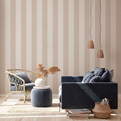 A.S. Création - Papel pintado, diseño de rayas, color beige y crema