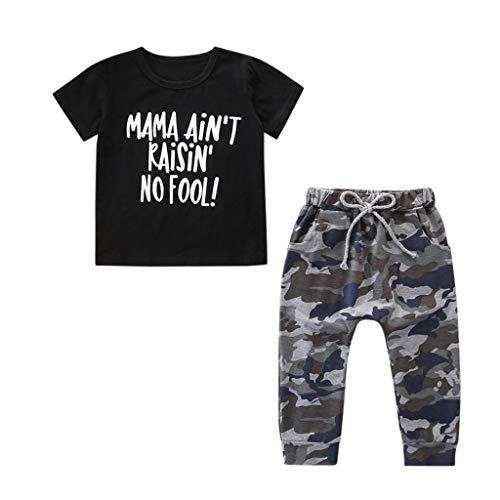 Kleinkind Mädchen Jungs Brief T-Shirt Tops und Tarnen Hose Set Outfits